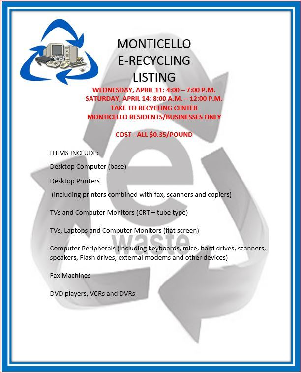 E-Recycling Day @ Monticello Recycling Center | Monticello | Wisconsin | United States